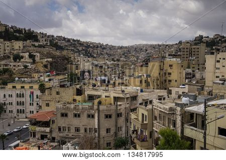 Amman, Jordan -May 28, 2016: Cityscape of Amman downtown Jordan