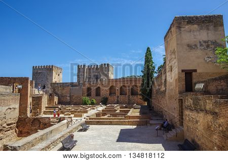 Terrace towers and wall of medieval Alcazaba fortress of Alhambra Granada Spain