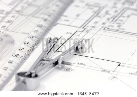 Measurement Tools On Floor Plan Background
