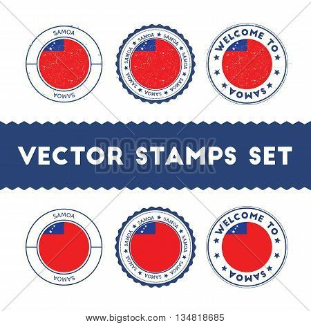 Samoan Flag Rubber Stamps Set. National Flags Grunge Stamps. Country Round Badges Collection.
