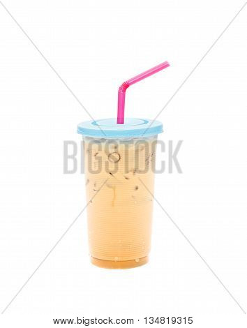 Iced Coffee, Iced Coffee With Straw in Plastic Cup isolated on white