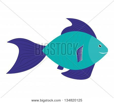 Sea life represented by cartoon fish over isolated and flat illustration