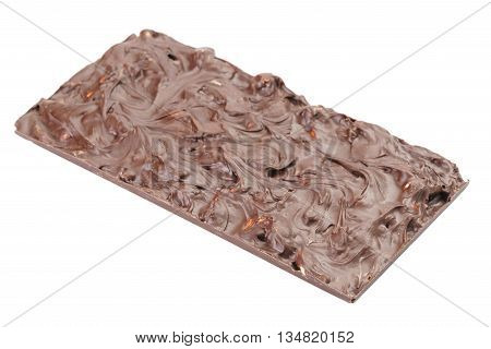 whole homemade bar of chocolate with cashew nuts reverse side, isolated on white backgound