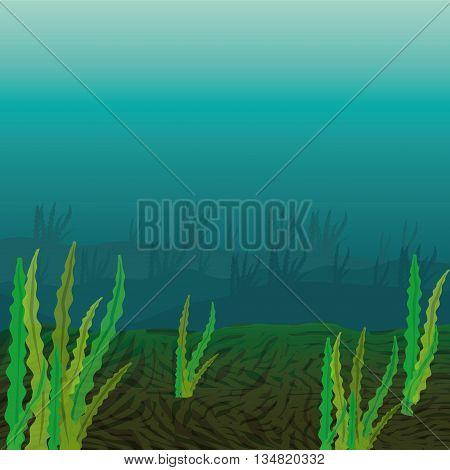 Sea life represented by algae inside design over sea illustration