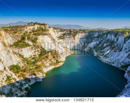 Beautiful grand canyon with blue sky in thailand