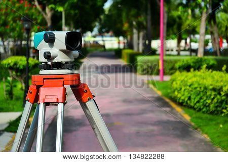 Close up level telescope on blur background