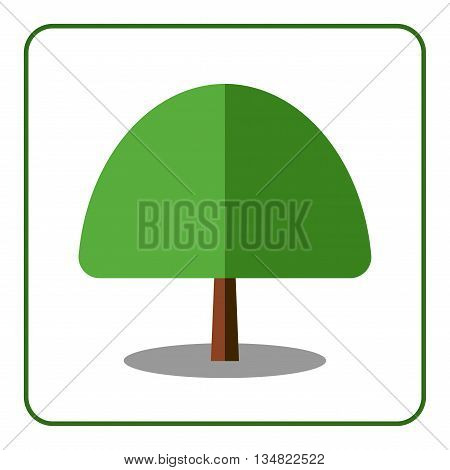 Maple tree icon. Flat design sign. Trendy beautiful floral element isolated on white background. Green silhouette deciduous tree. Symbol nature forest organic. Sprites for game. Vector illustration