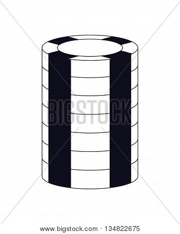Casino and las vegas represented chip coin over isolated and flat illustration