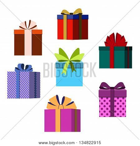Colorful wrapped gift boxes. Lots of presents Flat style decoration. Christmas surprises ribbons and bow isolated on white background. Symbol of birthday anniversary celebration Vector illustration