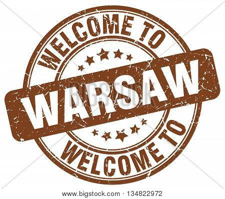 welcome to Warsaw stamp. welcome to Warsaw.