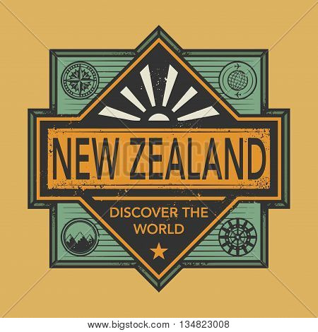 Stamp or vintage emblem with text New Zealand, Discover the World, vector illustration