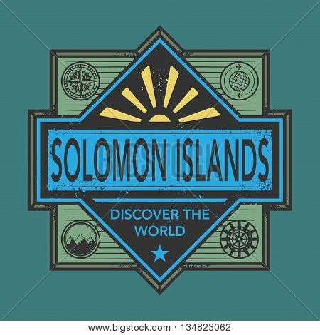 Stamp or vintage emblem with text Solomon Islands, Discover the World, vector illustration