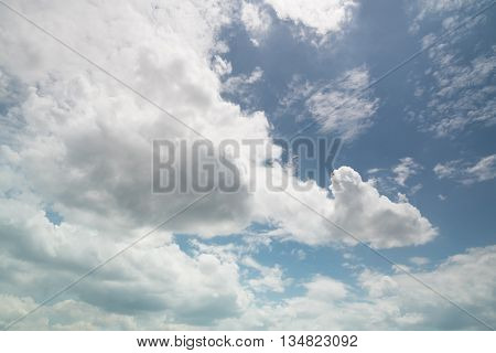 Blue sky background with a white clouds.