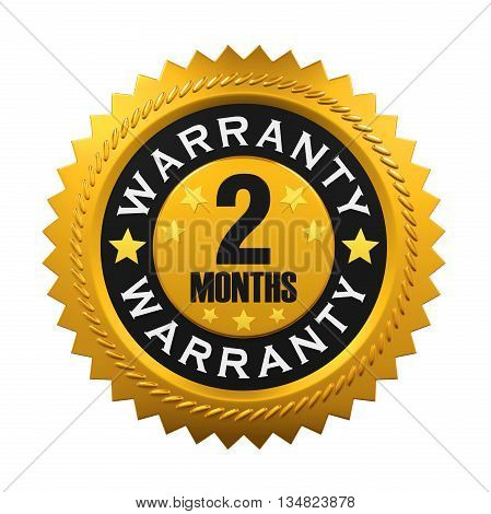 2 Months Warranty Sign isolated on white background. 3D render