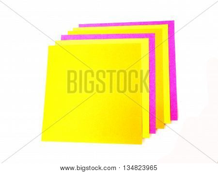 Colorful post it note on white background