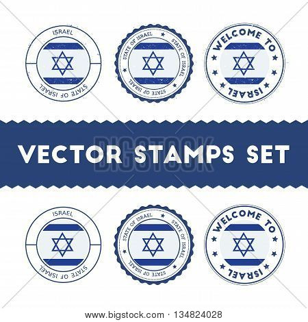 Israeli Flag Rubber Stamps Set. National Flags Grunge Stamps. Country Round Badges Collection.