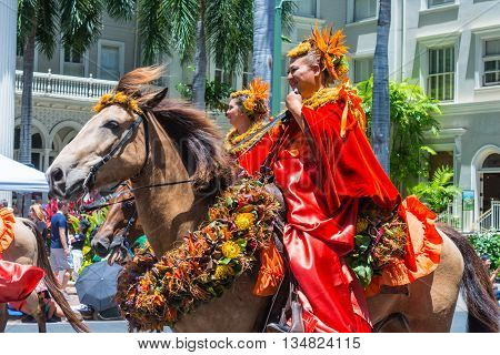 HONOLULU, HAWAII - June 11.  The 100th Annual King Kamehameha Day Parade on Saturday June 11, 2016 during the final stretch along the famed Kalakaua Avenue in Waikiki Beach.