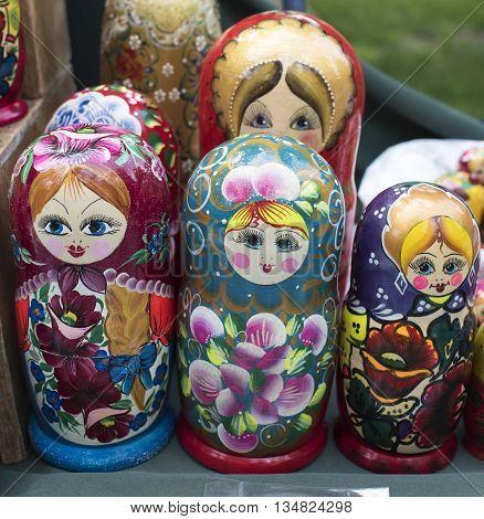 Shelf store wooden souvenirs - matryoshka dolls