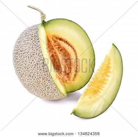 Ripe cantaloupe melon isolate on a white background (Clipping Path included)