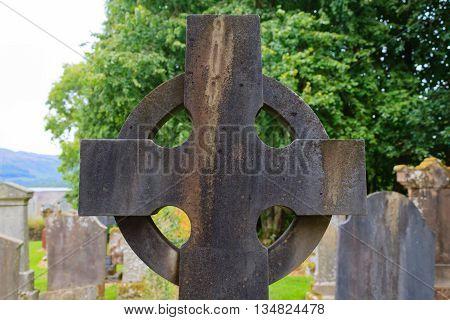 Celtic cross detail from Scotland. Stone cross
