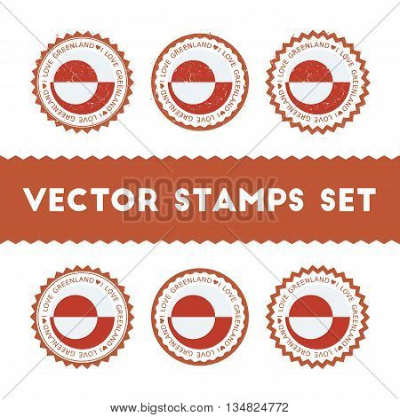 I Love Greenland Vector Stamps Set. Retro Patriotic Country Flag Badges. National Flags Vintage Roun