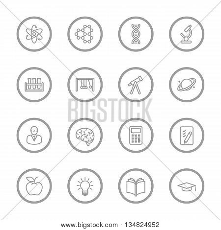 gray line education and science icon set with circle frame for web design user interface (UI) infographic and mobile application (apps)