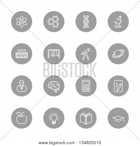 line education and science icon set on gray circle for web design user interface (UI) infographic and mobile application (apps)