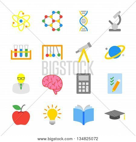 colorful flat education and science icon set for web design user interface (UI) infographic and mobile application (apps)