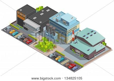 Isometric factory composition with warehouse manufacture and office buildings and parking with cars vector illustration