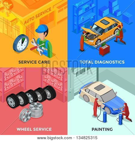 Car service isometric 2x2 design concept with total diagnostic wheel service and painting compositions vector illustration