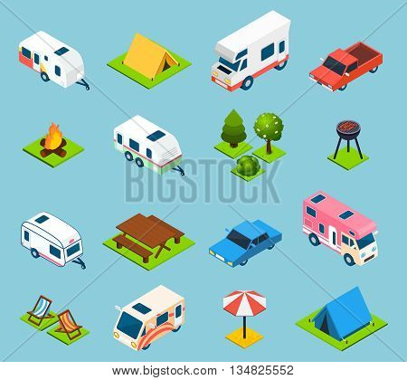 Camping and travel isometric icons set with trees transport and different things for campsite and travelling on light blue background isolated vector illustration