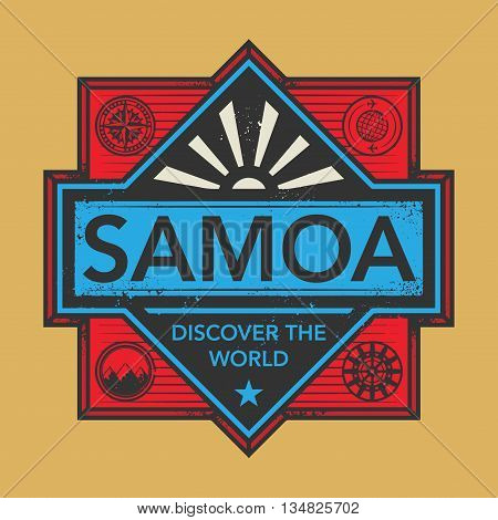 Stamp or vintage emblem with text Samoa, Discover the World, vector illustration