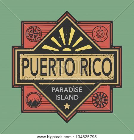 Stamp or vintage emblem with text Puerto Rico, Discover the World, vector illustration