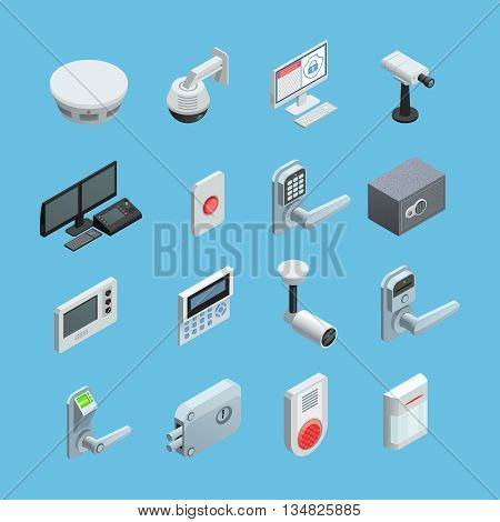 Home security system elements isometric icons collection with surveillance motion sensor camera with alarm abstract isolated vector illustration