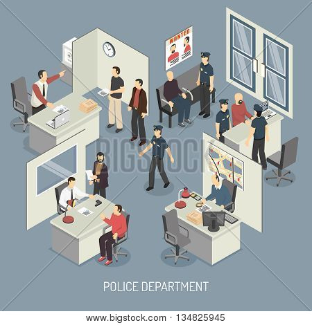 Police department isometric composition with policemen visitors arrested persons interrogation office interior on blue background vector illustration