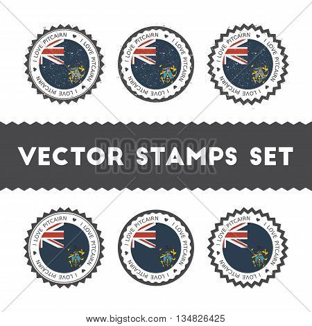 I Love Pitcairn Vector Stamps Set. Retro Patriotic Country Flag Badges. National Flags Vintage Round
