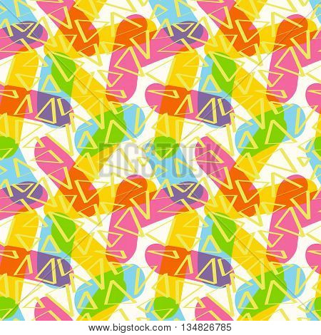 Seamless beautiful pattern of sticks and triangles of CMYK