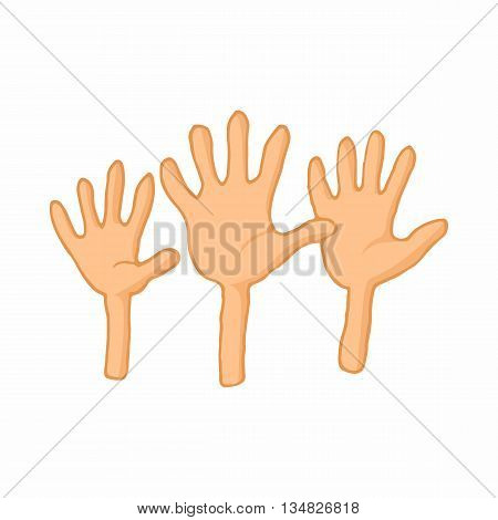 Open empty raising hands to ask for something icon in cartoon style on a white background