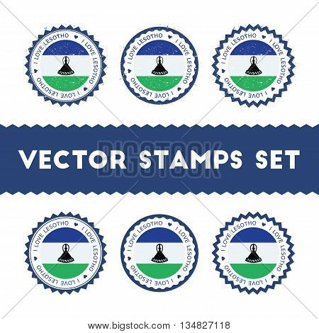 I Love Lesotho Vector Stamps Set. Retro Patriotic Country Flag Badges. National Flags Vintage Round