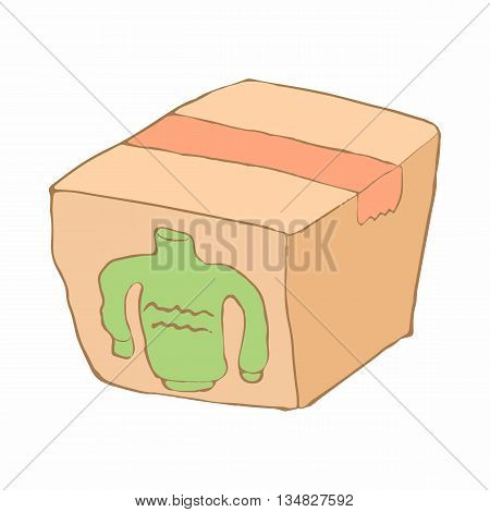 Box with donation clothes icon in cartoon style on a white background