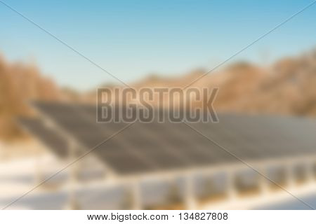 Abstract blur Solar panel station