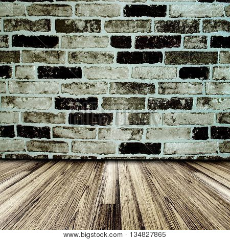 Seamless Oak laminate parquet floor and brick wall paper texture background