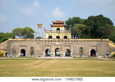 HANOI, VIETNAM - JANUARY 10, 2016: The Bastion with the main gate. The central citadel of Hanoi. Historical landmark of the Vietnam
