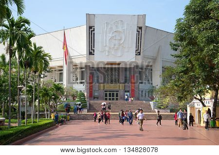 HANOI, VIETNAM - JANUARY 10, 2016: At the entrance to the central museum of Ho Chi Minh. Historical landmark of the city Hanoi, Vietnam