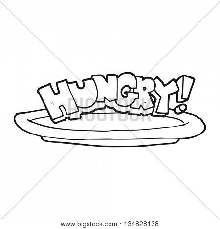 freehand drawn black and white cartoon empty plate with hungry symbol