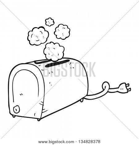 freehand drawn black and white cartoon toaster smoking