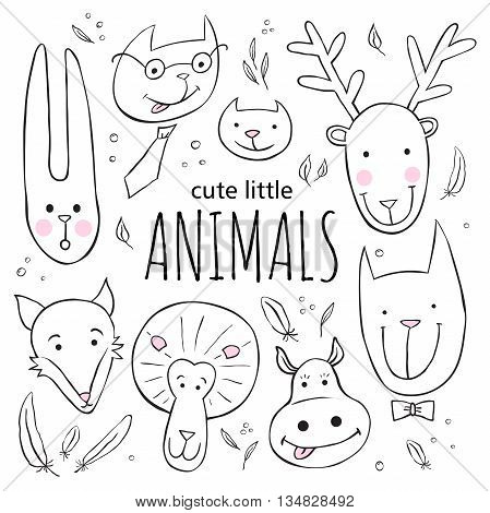 Set of cute animal faces. Vector sketch style doodle illustration. Rabbit, fox, deer, dog, lion, hippo cat