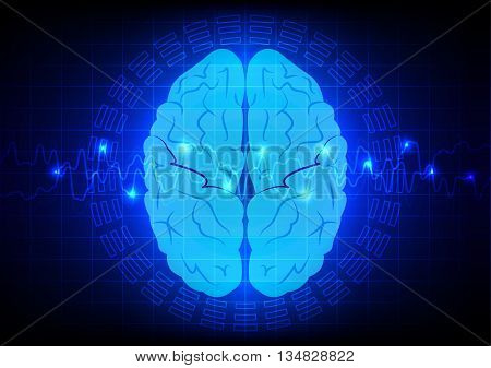 abstract brain technology with blue light design.illustration vector