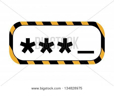 Security system and protection represented by code inside barrier box icon over flat and isolated background
