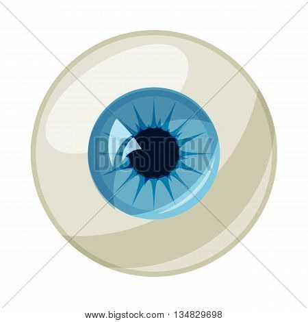 Human eye ball icon in cartoon style on a white background